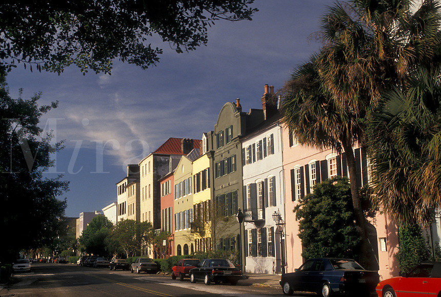 Charleston, South Carolina, SC, Rainbow Row, a collection of colorful historical houses, along East Bay Street in Charleston in the spring.