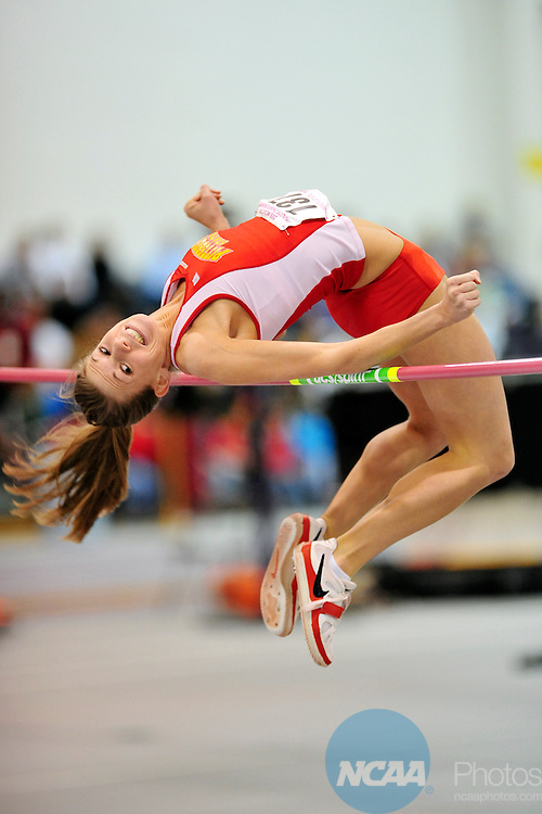 15 MAR 2008:  Lund Kiley (137) of Pittsburg State University clears the bar on her way to an eighth place in the high jump during the Division II Women's Indoor Track and Field Championship held at Myers Field House in Mankato, MN.  Kiley cleared 1.65m. Tom Dahlin/NCAA Photos