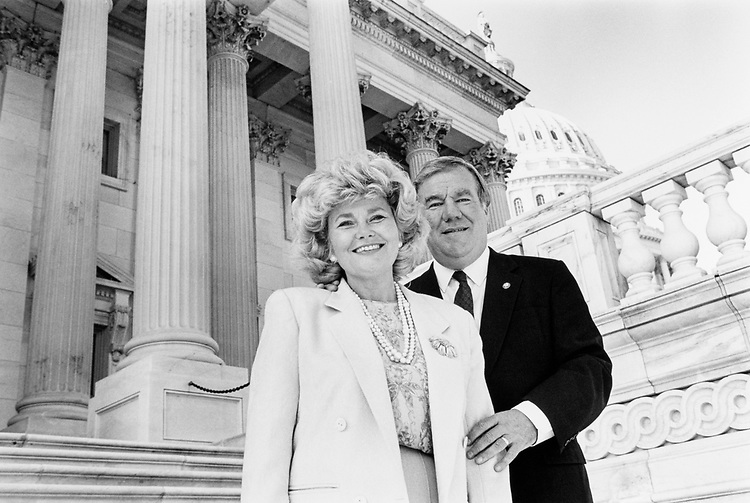 Rep. Carroll Hubbard, D-Ky. and wife Carol Hubbard posing for a picture near Capitol Hill, a couple of days after Mrs. Hubbard announced she would run for house in 1992. Nov. 27,1990. (Photo by Maureen Keating/CQ Roll Call)
