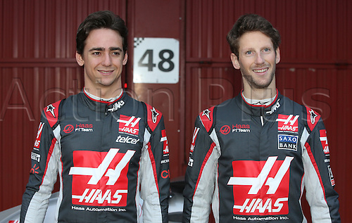 22.02.2016. Barcelona, Spain.  Mexican Formula One driver Esteban Gutierrez and French Formula One driver Romain Grosjean (R) of Haas F1 Team pose during the launch of the new car VF-16 for the upcoming Formula One season at the Circuit de Barcelona - Catalunya in Barcelona, Spain.