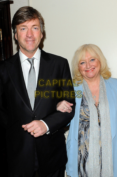 Richard Madeley, Judy Finnigan.Romantic Novel of the Year Awards, the Royal Air Force Club, The Presidents Room, 128 Piccadilly, London, England..February 26th, 2013.half length black suit jacket grey gray tie scarf blue married husband wife pattern dress peacock feather blazer.CAP/CJ.©Chris Joseph/Capital Pictures.