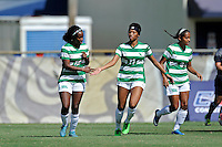 8 November 2015:  North Texas Forward Amber Haggerty (12) celebrates her first half goal with Defender Hailey Hadden (13) as the University of North Texas Mean Green defeated the Marshall University Thundering Herd, 1-0, in the Conference USA championship game at University Park Stadium in Miami, Florida.