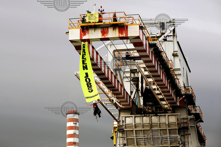 Greenpeace activists occupy the Marghera coal power plant as part of a nationwide protest targeting four Italian coal power plants.