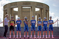 Team Quick Step Floors at the pre race Team Presentation with the World War I memorial, King Albert I monument, in the background. <br /> <br /> <br /> 1st Great War Remembrance Race 2018 (UCI Europe Tour Cat. 1.1) <br /> Nieuwpoort &gt; Ieper (BE) 192.7 km