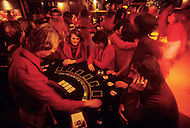Wasco, Oregon, January 1984: A disco and casino at Rajneeshpuram. Rajneeshpuram, was an intentional community in Wasco County, Oregon, briefly incorporated as a city in the 1980s, which was populated with followers of the spiritual teacher Osho, then known as Bhagwan Shree Rajneesh. The community was developed by turning a ranch from an empty rural property into a city complete with typical urban infrastructure, with population of about 7000 followers.