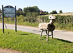 Village sign for Ablington, Netheravon valley, Wiltshire, England, UK