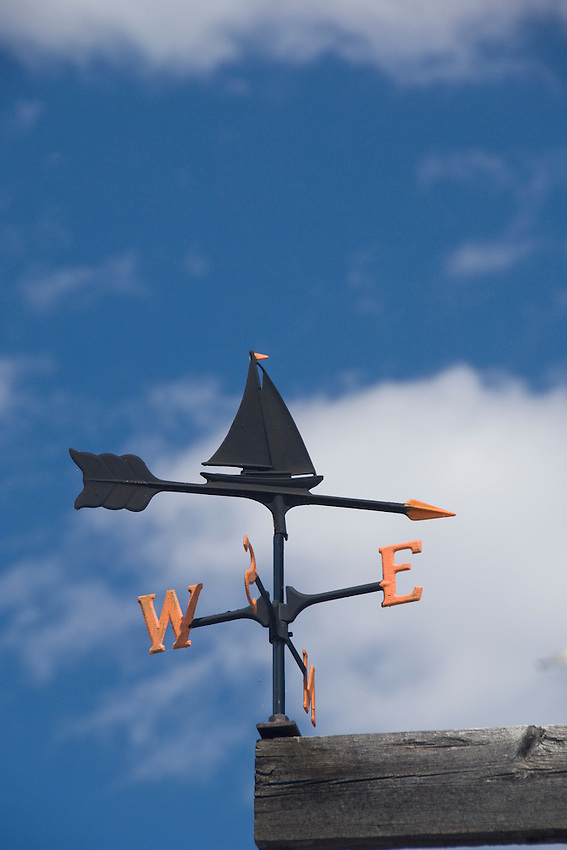 Detail of a weather vane at a boat dock in the lower harbor of Marquette Michigan.