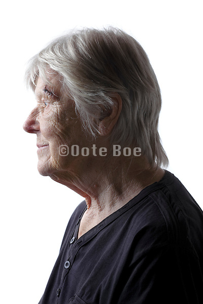 side view portrait of senior woman