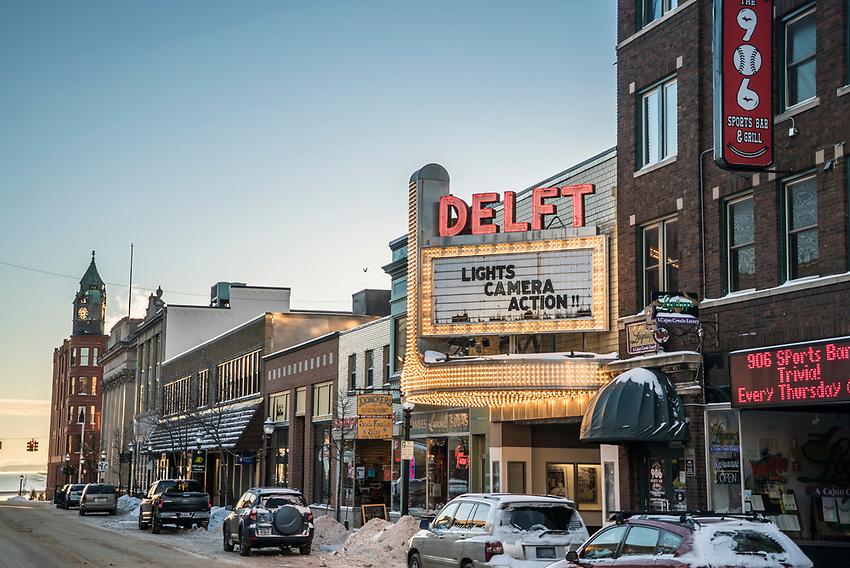 The marquis over the renovated Delft Bistro in downtown Marquette, Michigan in winter.
