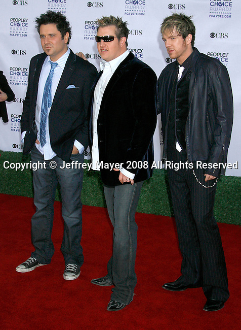 LOS ANGELES, CA. - January 07: Musicians Joe Don Rooney, Jay DeMarcus and Gary LeVox of Rascal Flatts arrive at the 35th Annual People's Choice Awards held at the Shrine Auditorium on January 7, 2009 in Los Angeles, California.