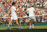 Roger Federer (3) of Switzerland celebrates his victory against Milos Raonic (6) of Canada in their Men's Singles Quarter Final Match today - Federer def Raonic 6-4, 6-2, 7-6<br /> <br /> Photographer Ashley Western/CameraSport<br /> <br /> Wimbledon Lawn Tennis Championships - Day 9 - Wednesday 12th July 2017 -  All England Lawn Tennis and Croquet Club - Wimbledon - London - England<br /> <br /> World Copyright &not;&copy; 2017 CameraSport. All rights reserved. 43 Linden Ave. Countesthorpe. Leicester. England. LE8 5PG - Tel: +44 (0) 116 277 4147 - admin@camerasport.com - www.camerasport.com