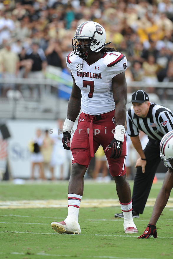 University of South Carolina Gamecoaks defensive end Jadeveon Clowney (7) during game against University of Central Florida Knights played at Bright House Networks Stadium on Saturday, September 28, 2013 in Orlando, FL. South Carolina defeated UCF 28-25. (Tomasso DeRosa)