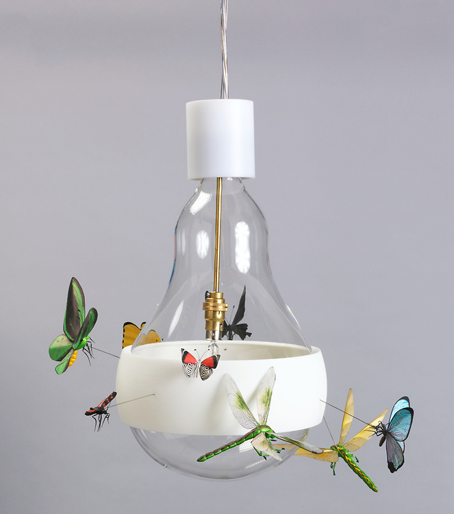 J.B. Schmetterling (Butterfly) Hanging Lamp, 2011; Designed by Ingo Maurer and Axel Schmid; Germany; mouth-blown glass, 3d-printed (flexible free-formed) plastic, machined brass, halogen light source; H x diam.: 46 x 32 cm (18 1/8 x 12 9/16 in.); Gift of Ingo Maurer GmbH and Graham Owen; 2014-7-1-a/c; Cooper Hewitt, Smithsonian Design Museum. <br />