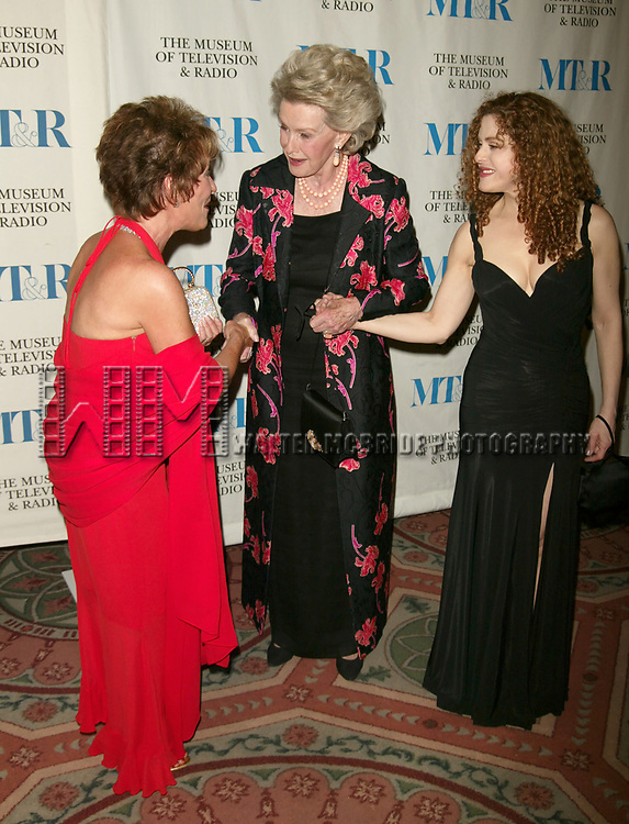 Judge Judy Sheindlin, Dina Merrill and Bernadette Peters Attending  The Museum of Television &amp; Radio's Annual Gala Honoring Merv Griffin for his Award-Winning Television and Radio Career as well as his Contributions as a Business Leaderin the Entertainment Industry. The evening was held at the Waldorf Astoria Hotel in New York City. <br />