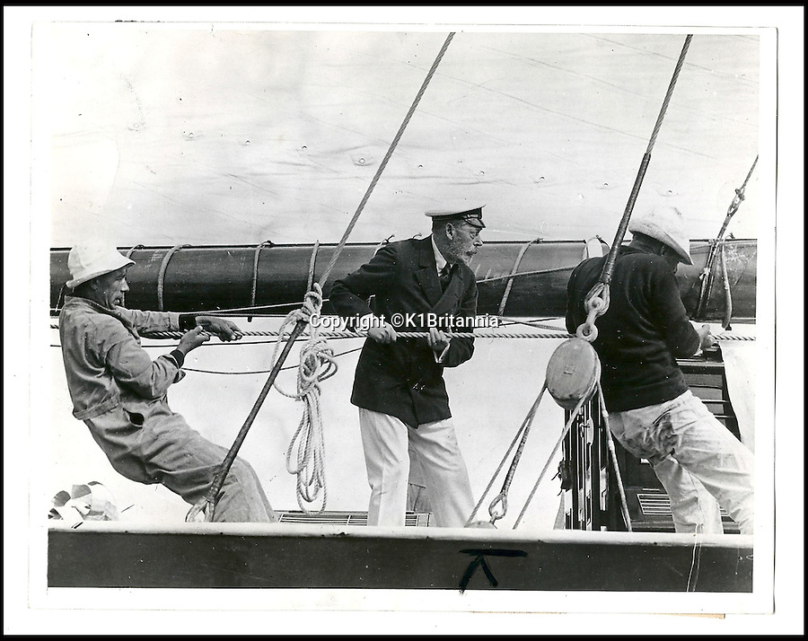 BNPS.co.uk (01202 558833)<br /> Pic: K1Britannia/BNPS<br /> <br /> ***Please Use Full Byline***<br /> <br /> H.R.H. King George V lending a helping hand onboard the Britannia. <br /> <br /> An 8 million pounds appeal has been launched to resurrect one of the most famous and best loved racing yachts of all time - the 'King's yacht' Britannia.<br /> <br /> The historic 177ft yacht was built for playboy prince Albert in 1893 and became an instant star of the sailing scene, winning 33 of 43 prestigious races  in her first year alone.<br /> <br /> The stunning Royal yacht became known the world over and enjoyed an illustrious racing career at the hands of Albert, who went on to become King Edward VII.<br /> <br /> Edward's son George V continued the love affair with Britannia, dubbed 'the King's yacht', so much so that on his death in 1936 she was deliberately sunk off the Isle of Wight.<br /> <br /> Now, 78 years on, campaigners are nearing the final stages of a project to complete an an inch-perfect replica of Britannia which has been 20 years in the making.<br /> <br /> The instantly recognisable hull is finished but around six million pounds is needed to transform it into a yacht worthy of Royalty. <br /> <br /> The yacht, which will cost an extra one million pounds a year to run, will then be taken all round the world so it can be enjoyed by charities and future generations.