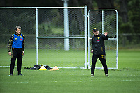 Assistant coach Chris Greenacre (left) and head coach Ufuk Talay. Wellington Phoenix training at Martin Luckie Park in Wellington, New Zealand on Saturday, 19 October 2019. Photo: Dave Lintott / lintottphoto.co.nz