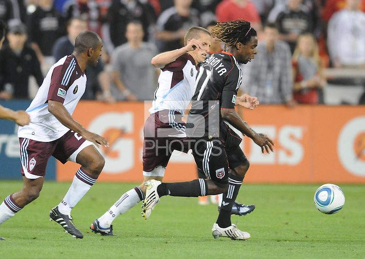 DC United forward Joseph Ngwenya (11) runs with the ball follow by Colorado Rapids midfielder Wells Thompson (15)   DC United tied The Colorado Rapids 1-1, at RFK Stadium, Saturday  May 14, 2011.