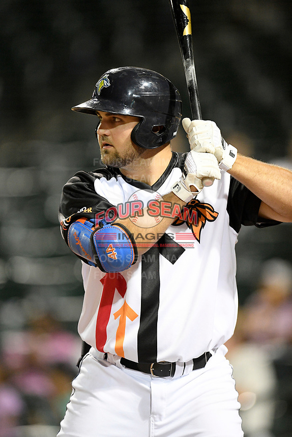 First baseman Chase Chambers (8) of the Columbia Fireflies bats in a game against the Lexington Legends on Thursday, June 13, 2019, at Segra Park in Columbia, South Carolina. Lexington won, 10-5. (Tom Priddy/Four Seam Images)