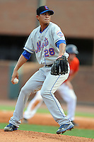 Kingsport Mets pitcher Edioglis Villasmil #28 delivers a pitch during a game against the Greenville Astros at Pioneer Park on August 4, 2013 in Greenville, Tennessee. The Astros won the game 17-1. (Tony Farlow/Four Seam Images)