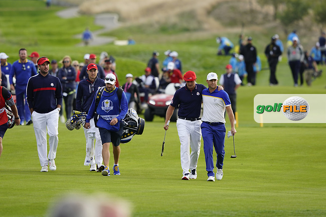 Bryson Dechambeau (Team USA) Alex Noran (Team Europe) during the singles matches at the Ryder Cup, Le Golf National, Ile-de-France, France. 30/09/2018.<br /> Picture Fran Caffrey / Golffile.ie<br /> <br /> All photo usage must carry mandatory copyright credit (© Golffile | Fran Caffrey)