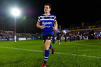Freddie Burns and the rest of the Bath Rugby team run onto the field. Gallagher Premiership match, between Bath Rugby and Exeter Chiefs on October 5, 2018 at the Recreation Ground in Bath, England. Photo by: Patrick Khachfe / Onside Images