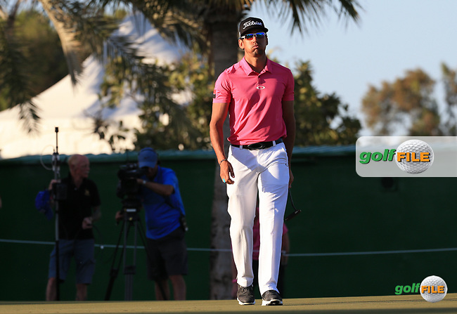 2012 Champion Rafa Cabrera-Bello (ESP) completes back to back rounds of 67 to lead the field during Round Two (Pink Friday) of the 2016 Omega Dubai Desert Classic, played on the Emirates Golf Club, Dubai, United Arab Emirates.  05/02/2016. Picture: Golffile | David Lloyd<br /> <br /> All photos usage must carry mandatory copyright credit (&copy; Golffile | David Lloyd)