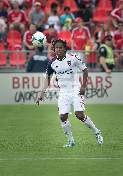 29 June 2013: Real Salt Lake midfielder/defender Lovel Palmer #7 in action during an MLS game between Real Salt Lake and Toronto FC at BMO Field in Toronto, Ontario Canada.<br /> Real Salt Lake won 1-0.