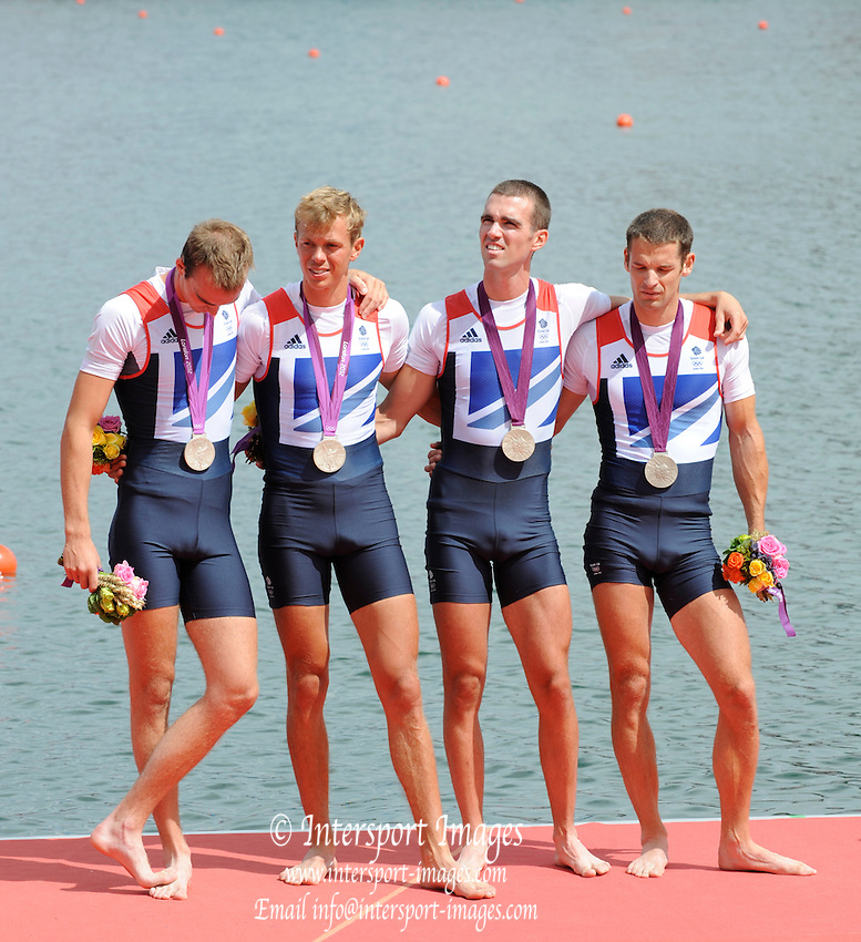 Eton Dorney, Windsor, Great Britain,..2012 London Olympic Regatta, Dorney Lake. Eton Rowing Centre, Berkshire.  Dorney Lake.  ..GBR LM4-.  Silver Medalist Peter CHAMBERS, Rob WILLIAMS, Richard CHAMBERS and Chris BARTLEY..12:46:53  Thursday  02/08/2012 [Mandatory Credit: Peter Spurrier/Intersport Images]