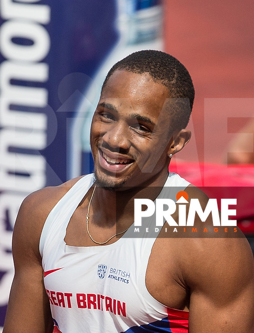 Chijindu UJAH of GBR smiles after his win in the 100m in a time of 10.02 during the Muller London Anniversary Games 2017 at the Queen Elizabeth Park, Olympic Park, London, England on 9 July 2017.  Photo by Andy Rowland.