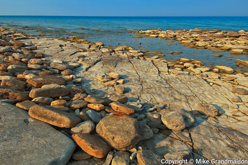 Limestone rock along Sydney Bay in Georgian Bay (Lake Huron). Bruce Peninsula.<br /><br />Ontario<br />Canada