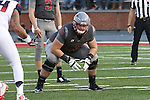 Noah Osur-Myers, Washington State offensive lineman, sizes up his blocking assignment during the Cougars Pac-12 Conference demolition of the Arizona Wildcats, 69-7, on November 5, 2016, at Martin Stadium in Pullman, Washington.