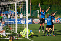 Kansas City, MO - Sunday May 07, 2017: Erika Tymrak celebrates scoring during a regular season National Women's Soccer League (NWSL) match between FC Kansas City and the Orlando Pride at Children's Mercy Victory Field.