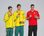 The podium in men's 200m freestyle final, from left, runner-up, Australia's Cameron McEvoy, winner, Australia's Thomas Fraser-Holmes, and third placed Wales' Calum Jarvis<br /> <br /> Photographer Chris Vaughan/Sportingwales<br /> <br /> 20th Commonwealth Games - Day 2 - Friday 25th July 2014 - Swimming - Tollcross International Swimming Centre - Glasgow - UK