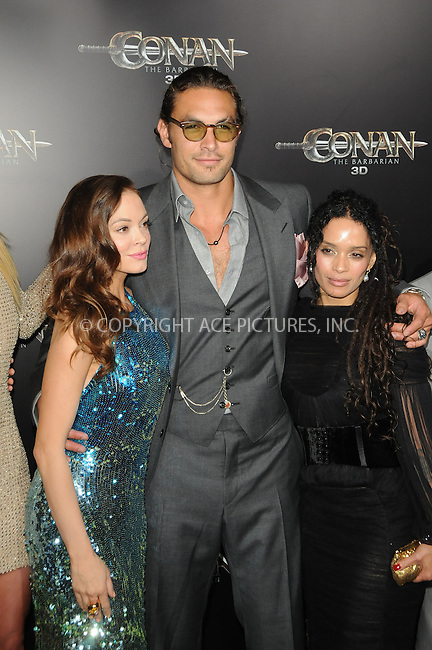 WWW.ACEPIXS.COM . . . . .  ....August 11 2011, LA....Actors Rose McGowan, Jason Momoa and Lisa Bonet arriving at the premiere 'Conan The Barbarian' on August 11, 2011 in Los Angeles, California....Please byline: PETER WEST - ACE PICTURES.... *** ***..Ace Pictures, Inc:  ..Philip Vaughan (212) 243-8787 or (646) 679 0430..e-mail: info@acepixs.com..web: http://www.acepixs.com