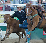 Action from the Steer Wrestling event during the Reno Rodeo in Reno, Nevada on Saturday, June 23, 2018.
