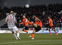 John Rankin clears in the St Mirren v Dundee United Clydesdale Bank Scottish Premier League match played at St Mirren Park, Paisley on 27.10.12.