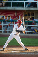 Michael Pierson (2) of the Orem Owlz at bat against the Ogden Raptors in Pioneer League action at Home of the Owlz on June 20, 2015 in Provo, Utah.The Raptors defeated the Owlz 9-6.  (Stephen Smith/Four Seam Images)