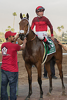 ARCADIA, CA   FEBRUARY 3 : #5 Itsinthepost, ridden by Tyler Baze, in the winners circle after winning the San Marcos Stakes (Grade ll) on February 3, 2018 at Santa Anita Park in Arcadia, CA.(Photo by Casey Phillips/ Eclipse Sortswire/ Getty Images)