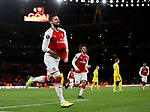 Arsenal's Olivier Giroud celebrates scoring his sides fifth goal during the Europa League Group H match at The Emirates Stadium, London. Picture date: December 7th 2017. Picture credit should read: David Klein/Sportimage