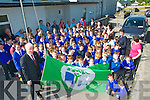 Green Flag : Minister Jimmy Deenihan raising the Green Flag at Killocrim NS, Listowel on Monday morning last.