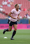 The United States' Christie Rampone wearing a special pink Breast Cancer Awareness top during pregame warmups on Saturday, May 12th, 2007 at Pizza Hut Park in Frisco, Texas. The United States Women's National Team defeated Canada 6-2 in a women's international friendly.