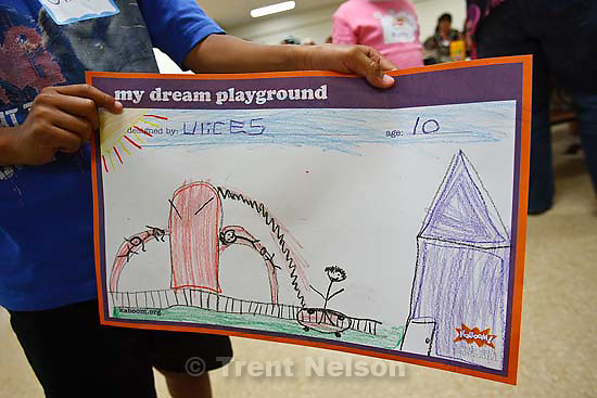 Salt Lake City - The design of one of the children of Dual Immersion Academy, who shared their ideas Thursday, July 10, 2008 for a new playground that will be built by volunteers in one day on September 6th with help from the company Kaboom.