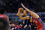 Ryan Broekhoff of Dallas Mavericks (L) in action against Mike Muscala of 76ers (R) during the NBA China Games 2018 match between Dallas Mavericks and Philadelphia 76ers at Universiade Center on October 08 2018 in Shenzhen, China. Photo by Marcio Rodrigo Machado / Power Sport Images