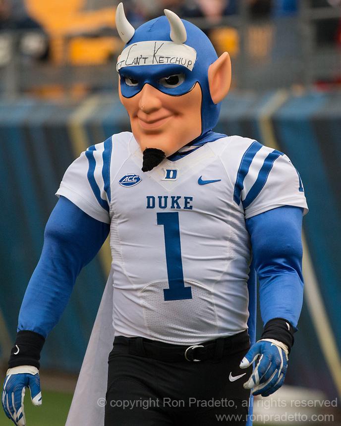 Duke Blue Devil mascot. The Pitt Panther defeated the Duke Blue Devils 56-14 at Heinz Field in Pittsburgh, Pennsylvania on November 19, 2016.