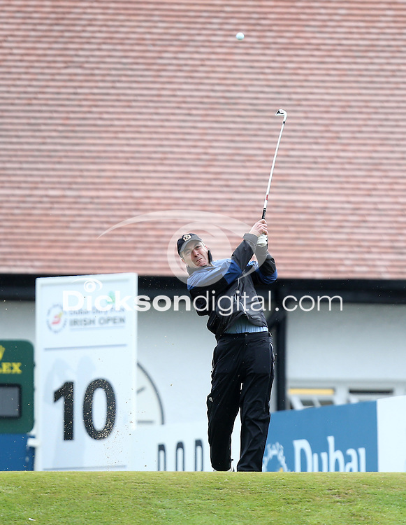 27 May 2015; James Nesbitt tees up at the 10th<br /> <br /> Dubai Duty Free Irish Open Golf Championship 2015, Pro-Am. Royal County Down Golf Club, Co. Down. Picture credit: John Dickson / DICKSONDIGITAL