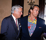 Arnold Schwarzenegger with Sargent Shriver  in New York City.