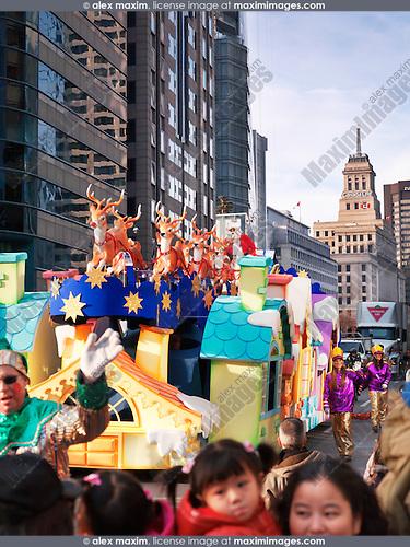 Santa sleigh at Toronto Santa Clause parade 2012. Toronto, Ontario, Canada.