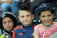 Pictured: Swansea supporters Tuesday 25 August 2015<br /> Re: Capital One Cup, Round Two, Swansea City v York City at the Liberty Stadium, Swansea, UK.