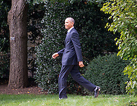 United States President Barack Obama walks from the Oval Office as he prepares to depart the South Lawn of the White House in Washington, DC on Thursday, October 13, 2016 en route to Joint Base Andrews in Maryland for a trip to Pennsylvania and Ohio.<br /> Credit: Ron Sachs / CNP /MediaPunch