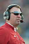 November 21, 2009: Wisconsin Badgers head coach Bret Bielema looks on during an NCAA football game against the Northwestern Wildcats at  Ryan Field on November 21, 2009 in Evanston, Illinois. The Wildcats won 33-31. (Photo by David Stluka)